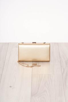 Geanta dama SunShine aurie de ocazie din piele ecologica cu maner lung tip lantisor si accesorizata cu o catarama