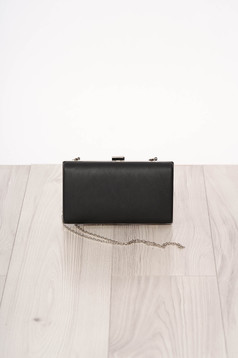Bag black occasional long chain handle buckle accessory ecological leather