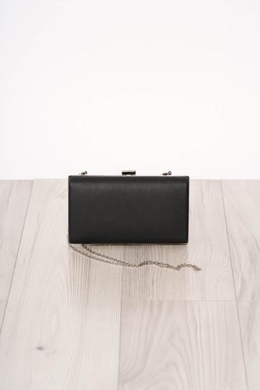 Geanta dama SunShine neagra de ocazie din piele ecologica cu maner lung tip lantisor si accesorizata cu o catarama