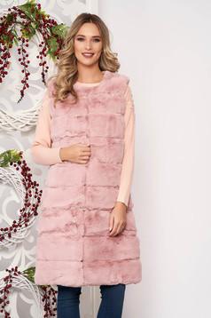 Vesta SunShine roz prafuit eleganta din blana ecologica fara maneci cu buzunare captusita pe interior