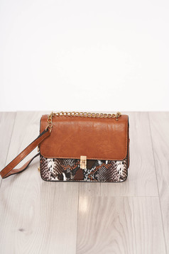 Bag brown with animal print long chain handle buckle accessory ecological leather