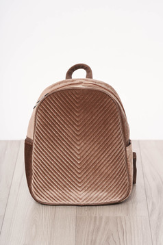 Backpacks brown zipper accessory from velvet long, adjustable handle short handles