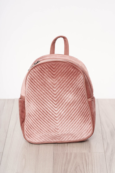 Rucsac SunShine roz din catifea accesorizat cu fermoar cu maner lung reglabil cu manere scurte