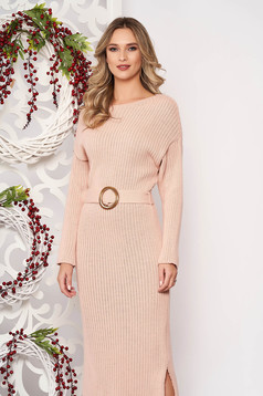 Dress lightpink knitted fabric accessorized with tied waistband long sleeved buckle accessory