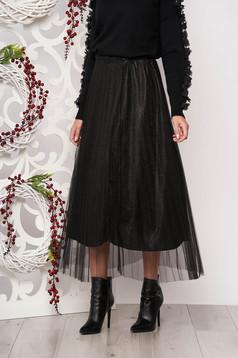 Skirt black cloche midi with net accessory