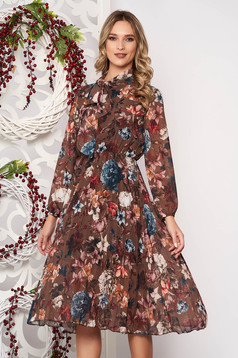 Dress brown with floral prints accessorized with tied waistband cloche long sleeve pleats of material midi