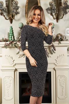 Rochie StarShinerS neagra din material tricotat cu fir stralucitor tip creion midi cu maneci trei-sferturi