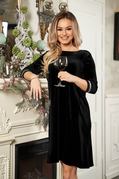 StarShinerS black dress occasional from velvet neckline with 3/4 sleeves short cut flared with crystal embellished details