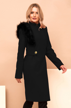 Palton PrettyGirl negru din stofa cu insertii cu blana ecologica accesorizat cu cordon