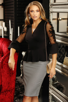 Women`s shirt black with net accessory with lace details with v-neckline peplum tented 3/4 sleeve