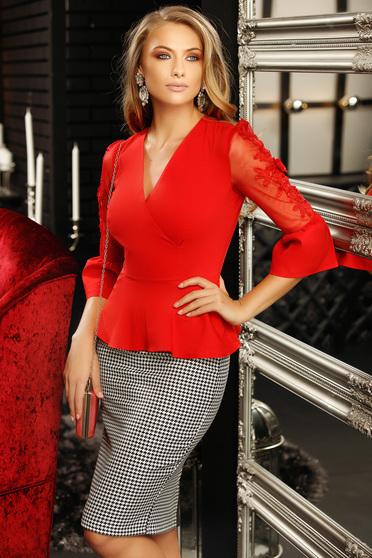 Camasa dama Fofy rosie mulata cu aplicatii de tul cu aplicatii de dantela cu peplum cu decolteu in v cu maneca 3/4