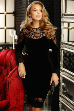 Dress black long sleeved with embroidery details from velvet pencil midi