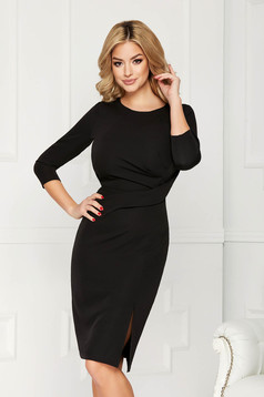 StarShinerS black dress office midi pencil slightly elastic fabric pleats at the bust slit