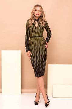 Rochie PrettyGirl khaki eleganta din stofa cu imprimeu geometric midi tip creion cu accesoriu tip curea cu maneci lungi