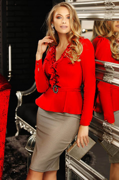 Women`s shirt red elegant cotton peplum with ruffles on the chest with v-neckline long sleeve short cut