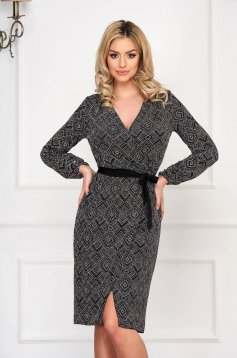 StarShinerS black dress occasional wrap over front straight