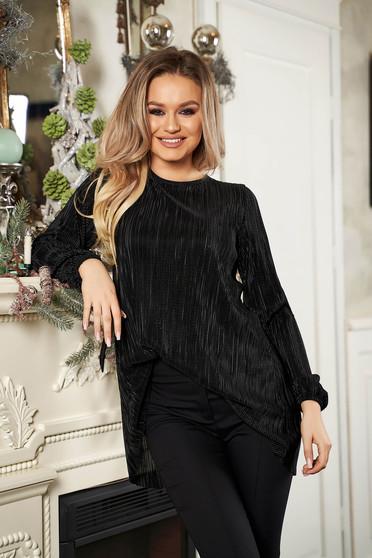 Bluza dama StarShinerS neagra eleganta cu croi larg cu maneci lungi si decolteu la baza gatului