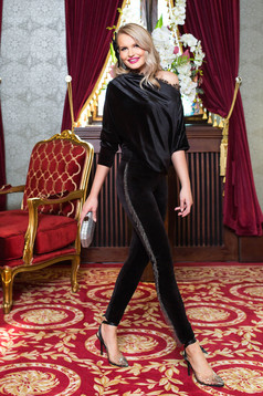 Black trousers occasional from velvet with fringes long conical