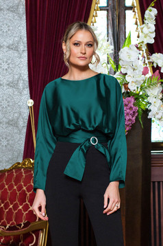 Green women`s blouse accessorized with tied waistband buckle accessory long sleeved occasional from satin