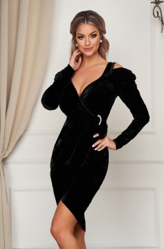 Black dress velvet pencil long sleeve with v-neckline with puffed sleeves wrap around