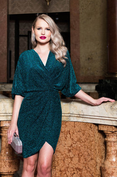 Green dress occasional pencil with v-neckline with 3/4 sleeves