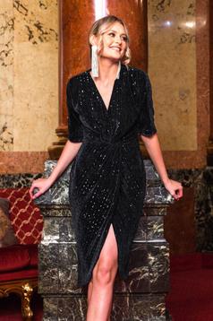 Dress black occasional velvet with sequins with v-neckline wrap over front strass slit