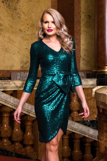 Rochie PrettyGirl verde de ocazie cu decolteu in v cu maneci trei-sferturi si cu fundita in talie