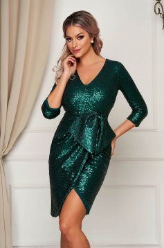 Dress green occasional with v-neckline with 3/4 sleeves with bow