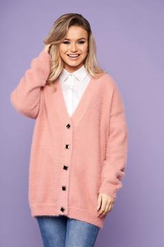 Cardigan SunShine roz elegant oversized cu decolteu in v cu maneci lungi si inchidere cu nasturi