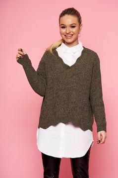 Pulover SunShine khaki scurt casual din tricot cu croi larg si decolteu in v