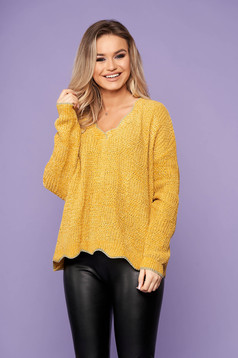Pulover SunShine mustariu scurt casual din tricot cu croi larg si decolteu in v