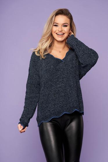 Pulover SunShine albastru-inchis scurt casual din tricot cu croi larg si decolteu in v
