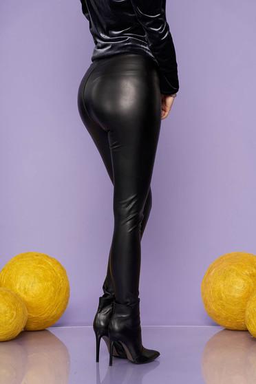 Colanti SunShine negru de party din imitatie de piele elastica si lucioasa cu elastic in talie