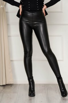 From ecological leather high waisted elastic waist black tights