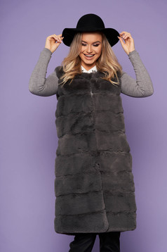 Gilet grey elegant from ecological fur with pockets with inside lining sleeveless