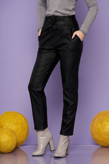 Pantaloni SunShine negri casual din piele ecologica conici cu talie inalta cu buzunare si accesorizati cu cordon