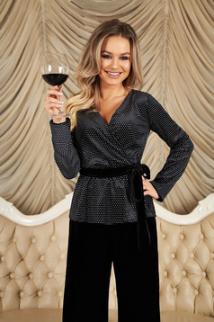 StarShinerS black women`s blouse with a cleavage wrap over front occasional long sleeve