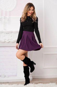 Purple casual cloche skirt slightly elastic fabric medium waist