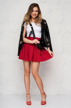 Burgundy casual cloche skirt slightly elastic fabric medium waist