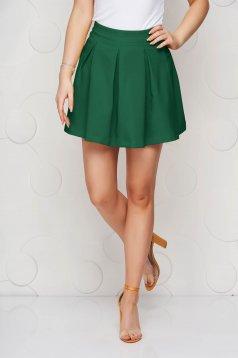 Fusta Artista verde casual in clos cu talie normala din material usor elastic
