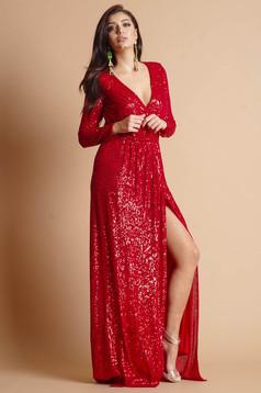 Rochie Artista rosie lunga de ocazie crapata pe picior accesorizata cu cordon detasabil cu decolteu petrecut si maneci lungi