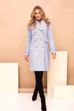 Palton PrettyGirl albastru cu un croi drept casual din stofa captusit pe interior