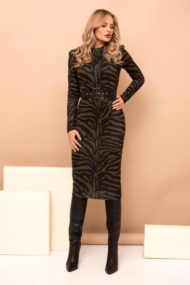 Rochie PrettyGirl khaki midi tip creion eleganta din material tricotat cu imprimeu tigrat cu accesoriu tip curea