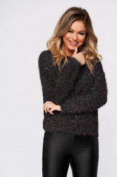 Pulover Top Secret negru casual cu croi larg din material tricotat fir stralucitor