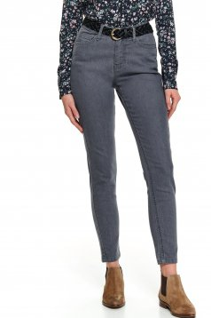 Pantaloni Top Secret gri casual conici din denim cu buzunare