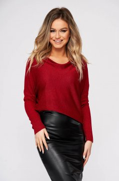 Red sweater casual flared knitted fabric with large collar