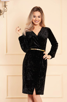 StarShinerS black dress occasional with a cleavage wrap over front long sleeved velvet with crystal embellished details accessorized with belt