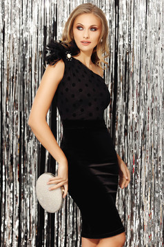 Black dress velvet asymmetrical occasional sleeveless pencil accessorized with breastpin