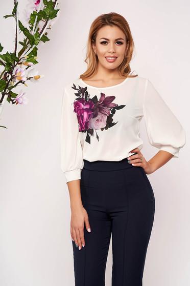 Bluza dama StarShinerS alba casual eleganta cu print custom-made cu maneci trei-sferturi si decolteu la baza gatului