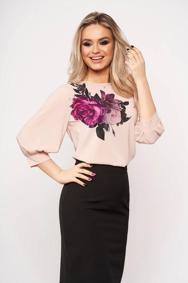 Bluza dama StarShinerS roz prafuit casual eleganta cu imprimeuri florale cu maneci trei-sferturi si decolteu la baza gatului
